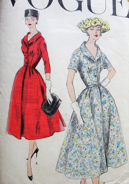 1950s STUNNING Day or Dinner Party Dress Pattern VOGUE 8912 Beautiful Back Pleated Dress Bust 34 Vintage Sewing Pattern