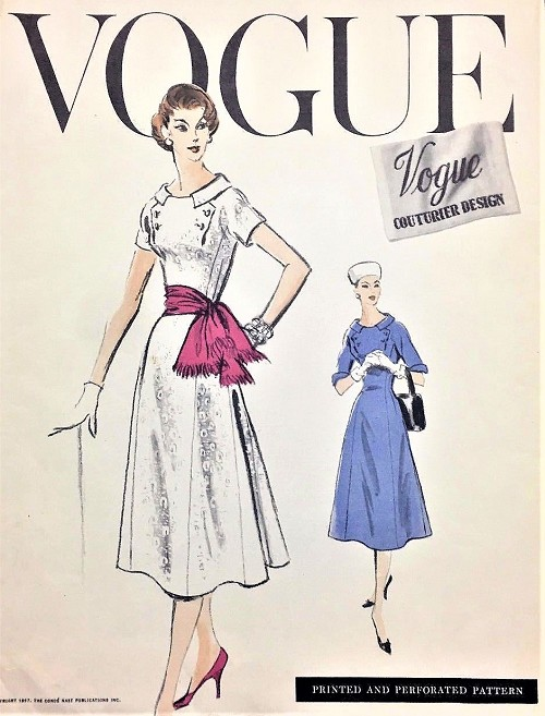 1950s STUNNING Day or Cocktail Party Dress Pattern VOGUE COUTURIER Design 918 Figure Flattering Flared Fitted Dress Bust 36 Vintage Sewing Pattern