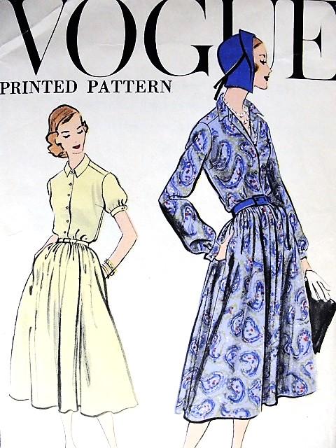 1950s CLASSY Shirt Waist Dress Pattern VOGUE 9302 Easy Dress Day or ...