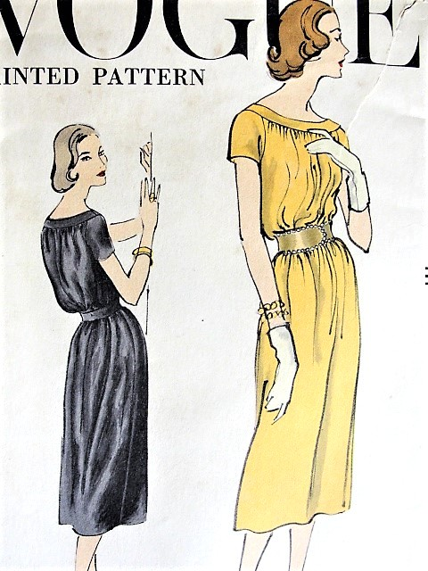 1950s Chic Chemise Dress Pattern Vogue 9330 Easy Day Or After 5