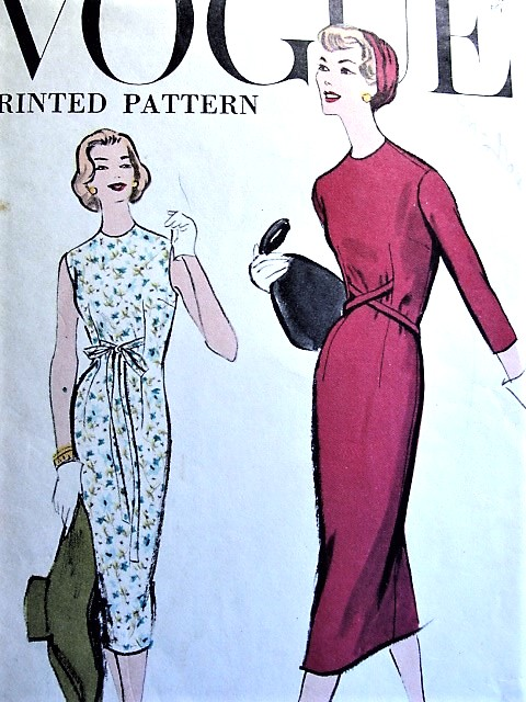 1950s Slim Chemise Dress Pattern Vogue 9382 Very Easy To Make Bust