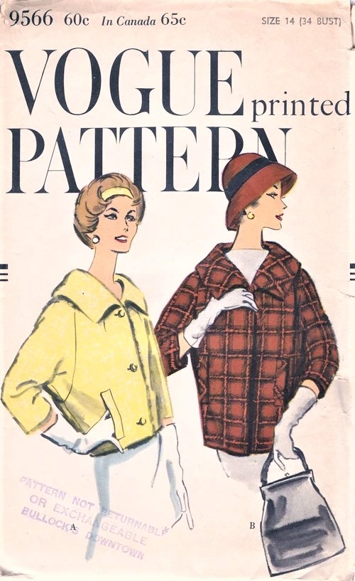 1950s Classy BARREL JACKET Pattern VOGUE 9566 Boxy Jacket Car Coat in 2 Lengths, Raglan Sleeves Wide Shaped Collar Bust 34 Vintage Sewing Pattern