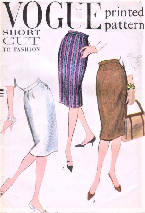 1950s CLASSIC Slim Easy To Sew Skirt Pattern VOGUE 9593 Waist 26 ...