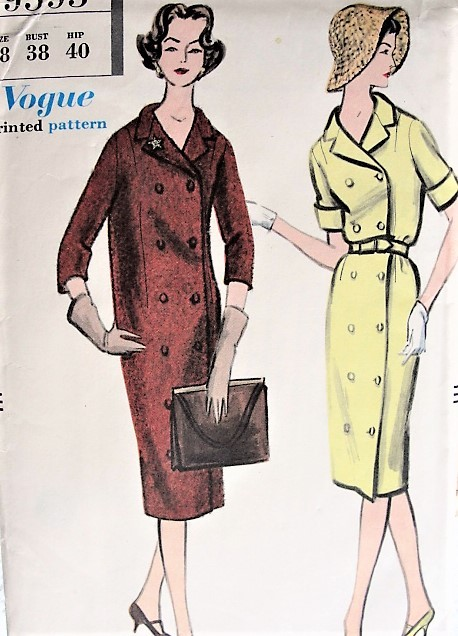 1950s Vintage CLASSIC Coat Dress With Or Without Belt Vogue 9595 Sewing Pattern Bust 38