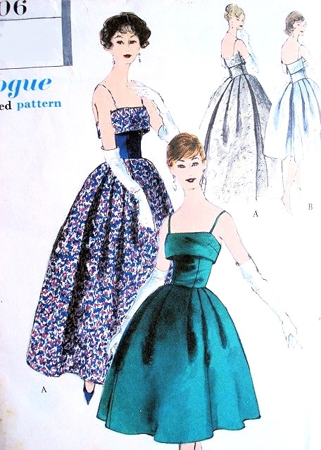 1950s DREAMY Evening Dress Pattern VOGUE 9606 Beautiful Design in ...