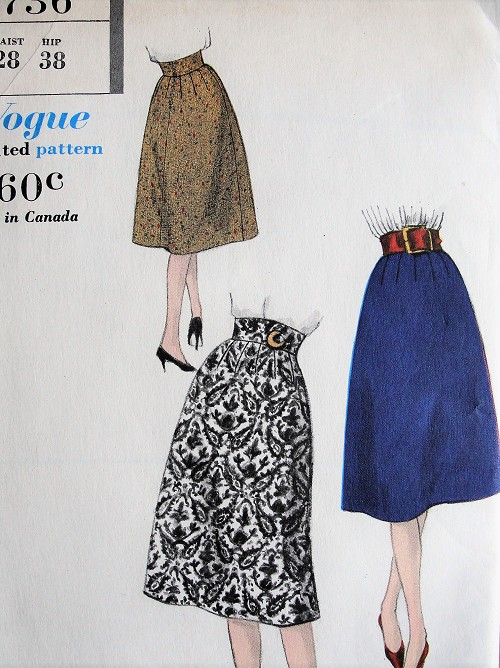 1950s  High Waist Flared Skirt Pattern VOGUE 9736,Easy To Make Skirts Waist 28 Vintage Sewing Pattern FACTORY FOLDED