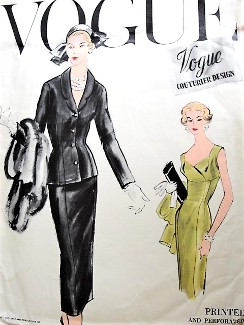 1950s STUNNING Evening Elegance Cocktail Party Dress and Jacket Pattern VOGUE Couturier Design 981 Flattering Draped Empire Sheath Dress With Low V Back, Fitted Jacket Bust 38 Vintage Sewing Pattern