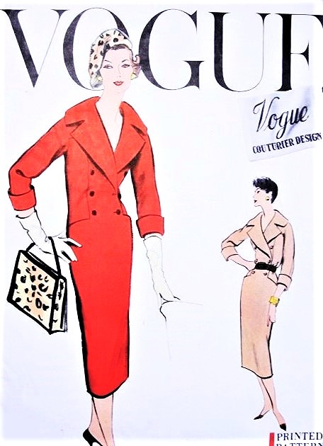 CLASSY 50s Slim Dress Pattern VOGUE Couturier Design 991 Double Breasted Wide Shawl Collar Day or Cocktail Dress B 36 Vintage Sewing Pattern