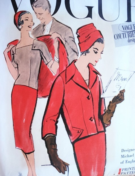 1950s CLASSY 3 Pc Suit Pattern VOGUE COUTURIER DESIGN 997 Striking Details Square Neck Overblouse or Tuck In Slim Mock Wrap Skirt Semi Fitted Shortie Jacket Bust 38 Vintage Sewing Pattern