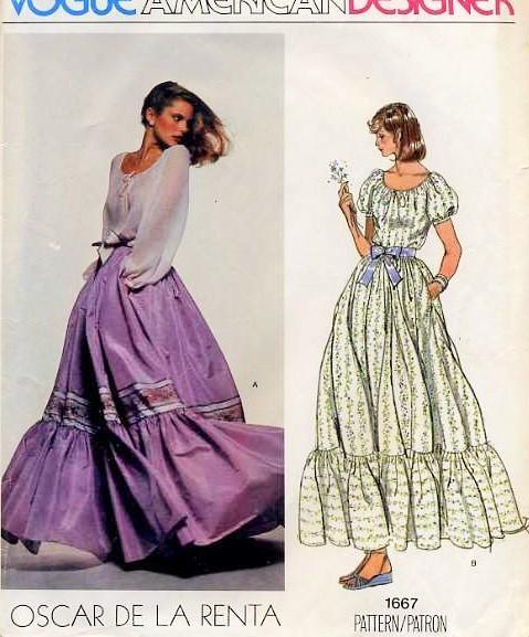 70s Romantic Oscar De La Renta Peasant Blouse Dirndl Skirt Pattern ...