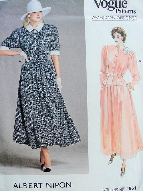 80s Albert Nipon Feminine Two Pc Dress Pattern Vogue American ...
