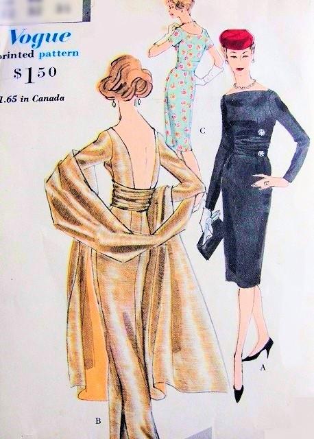 8ab159b5af0 1950s Stunning Slim Evening Dress