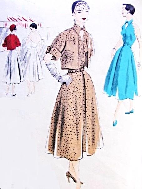 1950s Lovely Halter Dress and Bolero Jacket Pattern Vogue Special ...
