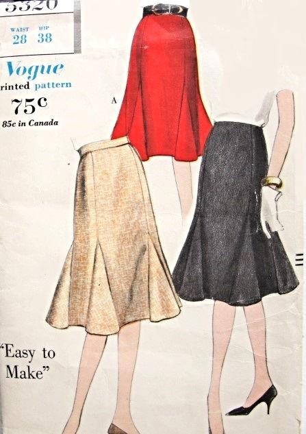1960s Lovely Godet Skirt Pattern Easy To Make Vogue 5320 Flirty ...