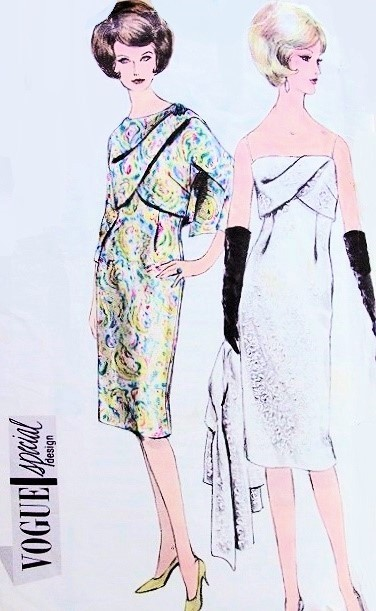 1960s Stunning Cocktail Evening Dress and Jacket Pattern Vogue ...
