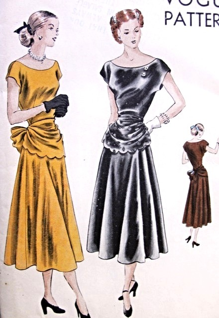 1940s Evening Cocktail Dress Pattern Vogue 6264 Bias Flared Skirt ...