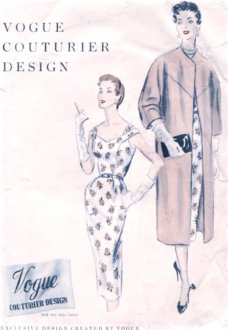 1950s Strappy Slim Dress And Clutch Coat Pattern Vogue Couturier