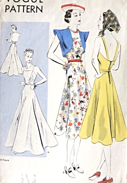 1930s Dress and Bolero Pattern Easy To Make Vogue 8072 Lovely Strappy Sundress or Formal Evening Gown Perky Jacket Bust 30 Vintage Sewing Pattern