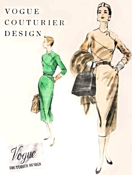 Elegant 1950s Vogue Slim Dress Pattern Vogue Couturier Design 809 ...