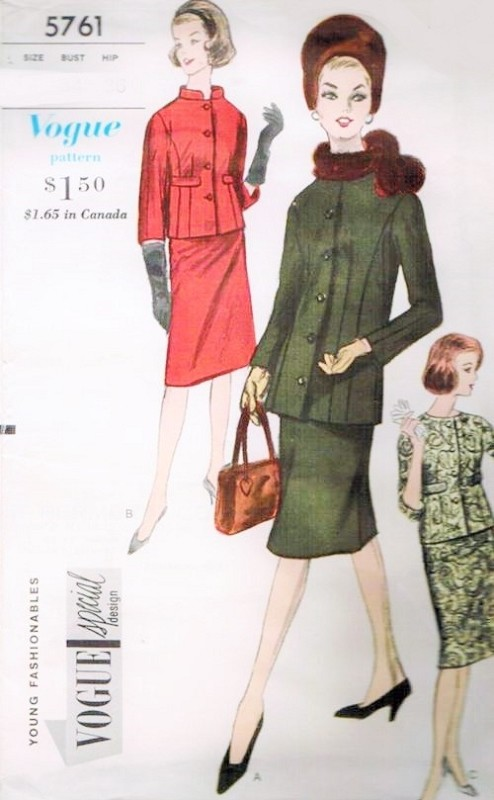 Early 60s Slim Suit Pattern Vogue Special Design 5761 Stylish Suit Jacket In 2 Lengths Slim Skirt Lower Flare Bust 31 Vintage Sewing Pattern