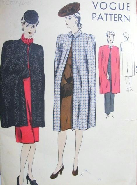 1940s Classy Cape Coats Pattern Vogue 9800 Joan Crawford Style Cloak ...