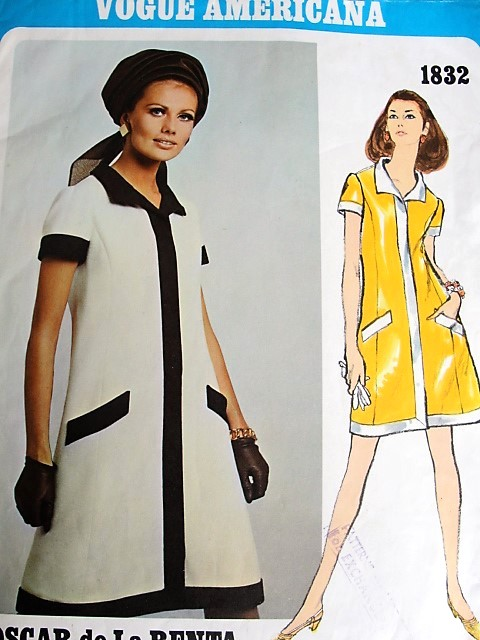 1960s OSCAR de La RENTA Step In Dress Pattern VOGUE AMERICANA 1832  Easy Day or Cocktail Dress Bust 36 Vintage Sewing Pattern FACTORY FOLDED