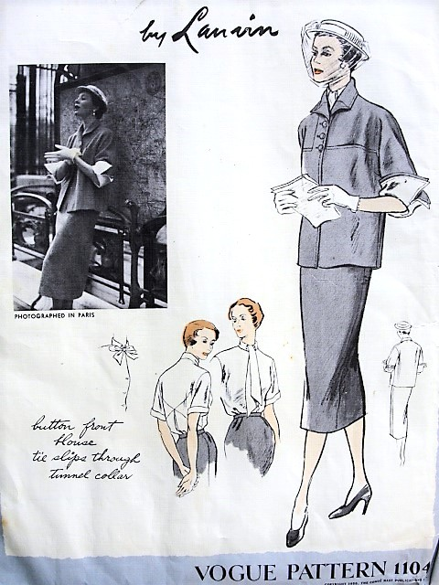 1950s Casual ELEGANCE Lanvin 3 pc Suit Pattern VOGUE Paris Original Model 1104 Boxy Jacket Detachable Wing Cuffs, Very Slim Skirt, Lovely Blouse Pleat and Seam Details, Bust 34 Vintage Sewing Pattern