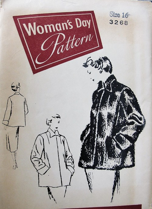 1950s FABULOUS Coat Jacket Pattern WOMANS DAY 3268 Fabric or Fur Jacket, Remodeling Fur Jacket, Luxury Coat Pattern Bust 34 Vintage Sewing Pattern FACTORY FOLDED