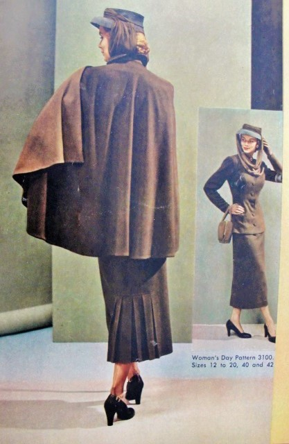 1940s High Fashion Cape and Suit Pattern Womans Day 3100 Amazing ...