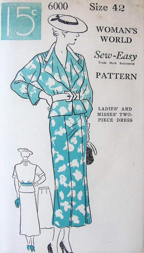 1930s ART DECO Two Pc Dress Pattern WOMANS WORLD 6000 Lovely  Jacket Top and Slim Skirt Dress So Bette Davis, Bust 42 Sew Easy Vintage Sewing Pattern FACTORY FOLDED